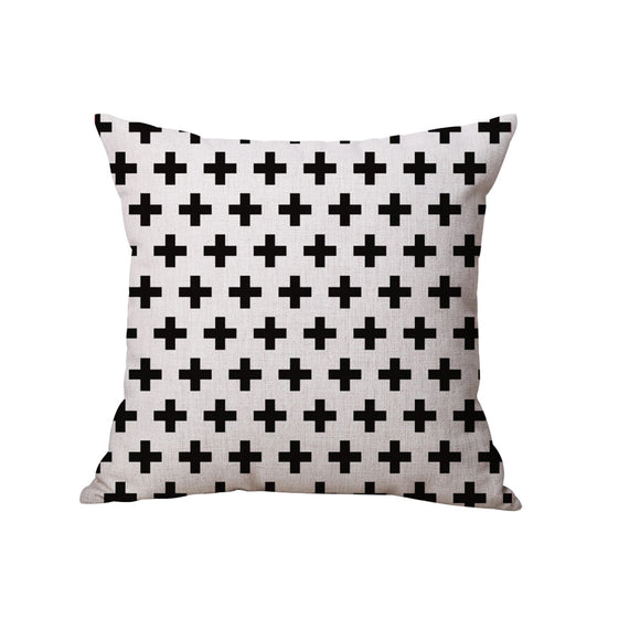 45cm x 45cm Black and White Crosses Decorative Pillow Case - The Dahlia Collective