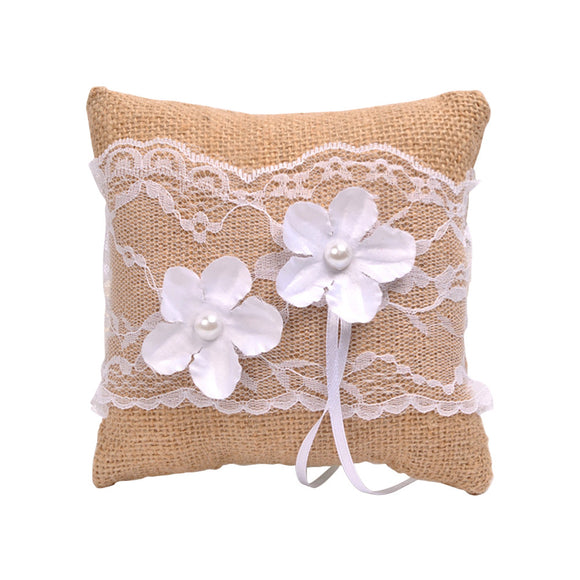 15x15cm Delicate Flower and Lace Burlap Ceremony Ring Pillow - The Dahlia Collective