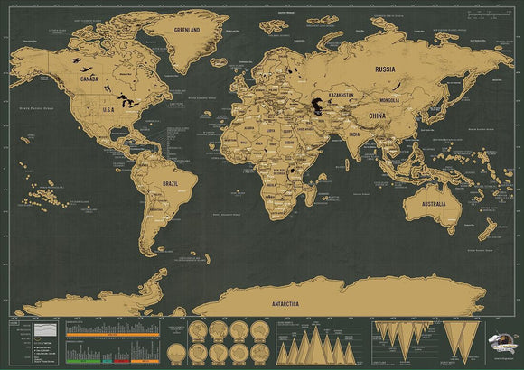 Black and Gold World Scratch Map - The Dahlia Collective