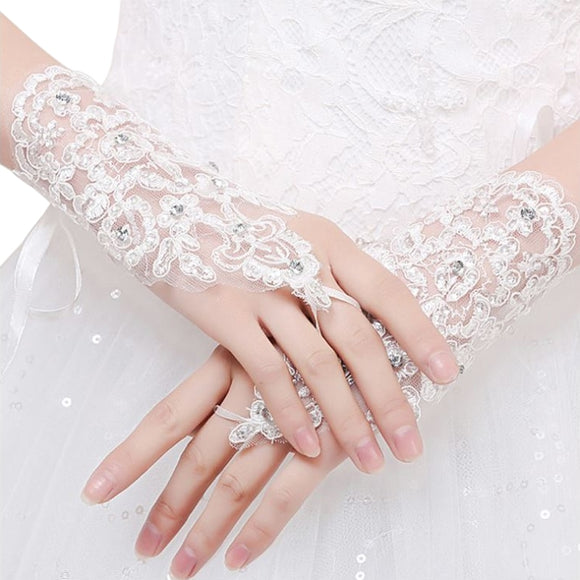 Modern Lace Bridal Gloves with Rhinestone Detail - The Dahlia Collective