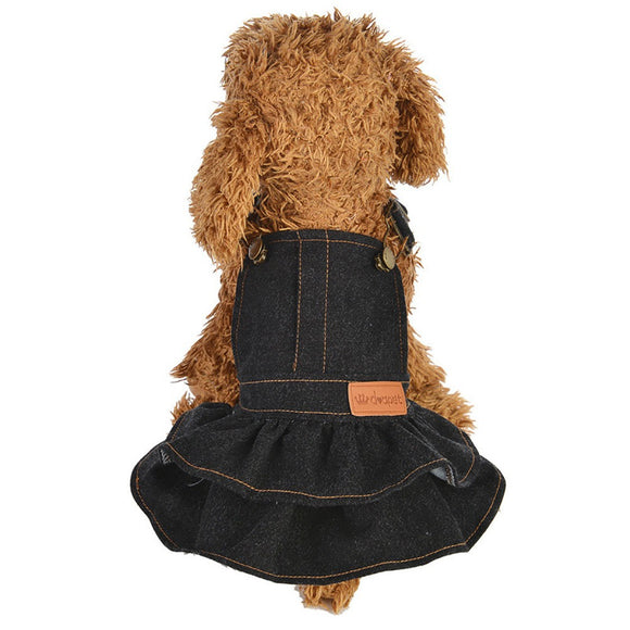 Adorable Dungaree Denim Dog Dress - The Dahlia Collective