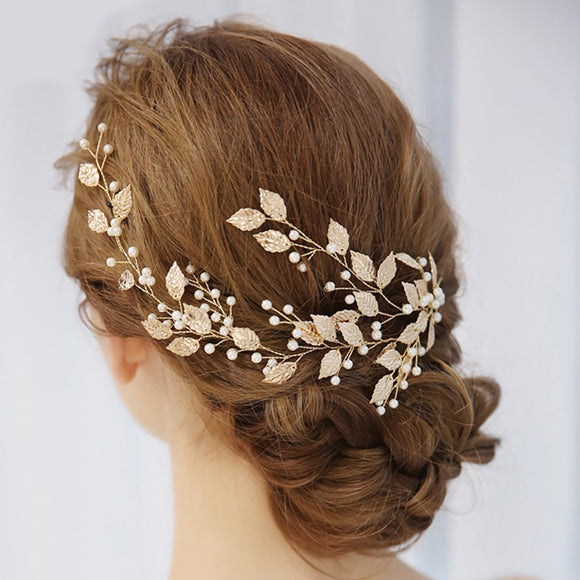 Bridal Golden Alloy Leaf Beaded Hair Accessory - The Dahlia Collective
