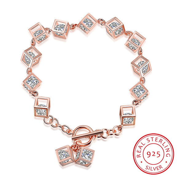 Crystal Rose Gold over Sterling Silver Rubix Cubed Bracelet - The Dahlia Collective