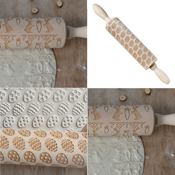 Easter Rolling Pin Engraved Carved Wood Embossed Rolling Pin Kitchen Tool - The Dahlia Collective