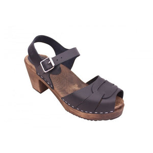 Peep Toe Clogs Black On Brown Base