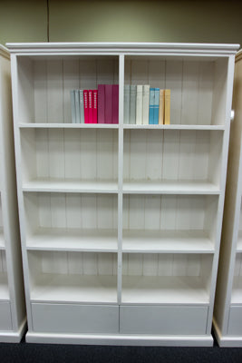 2 Drawer White Bookcase (1430W)