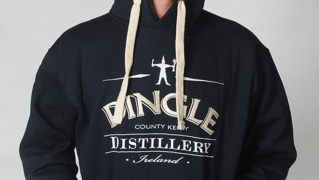 Detail of Dingle Distillery Hoody with close up of the logo