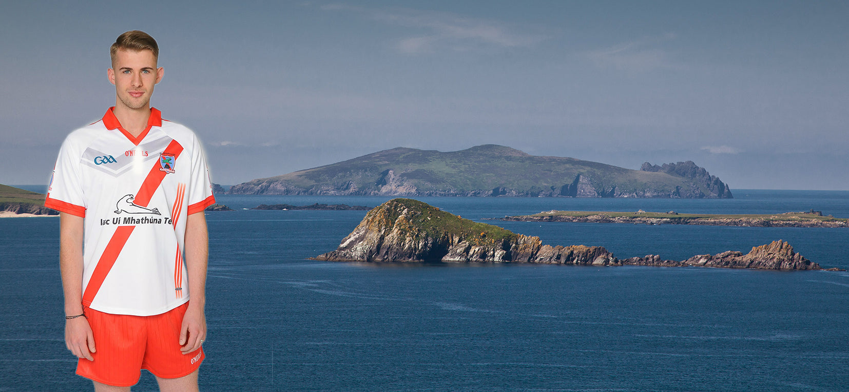 An Ghaeltacht GAA Jersey with an Fear Marbh or the sleeping giant Island in  the background
