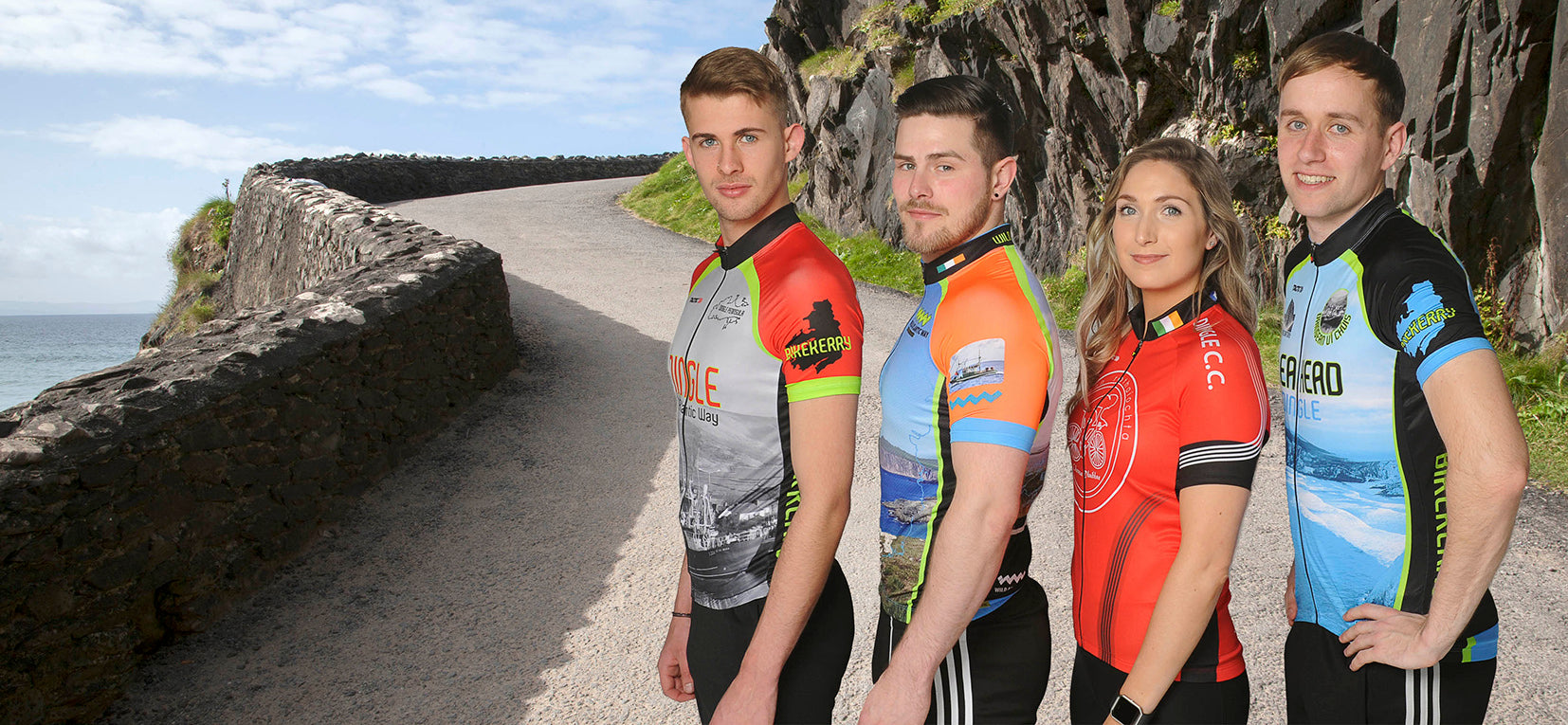 Cyclers wearing Dingle Cycle jerseys on the Slea head