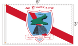 The official An Ghaeltacht GAA Flag with the club motto Sprid. Croí. Caid. Teanga. and the logo emblazoned in large upon it