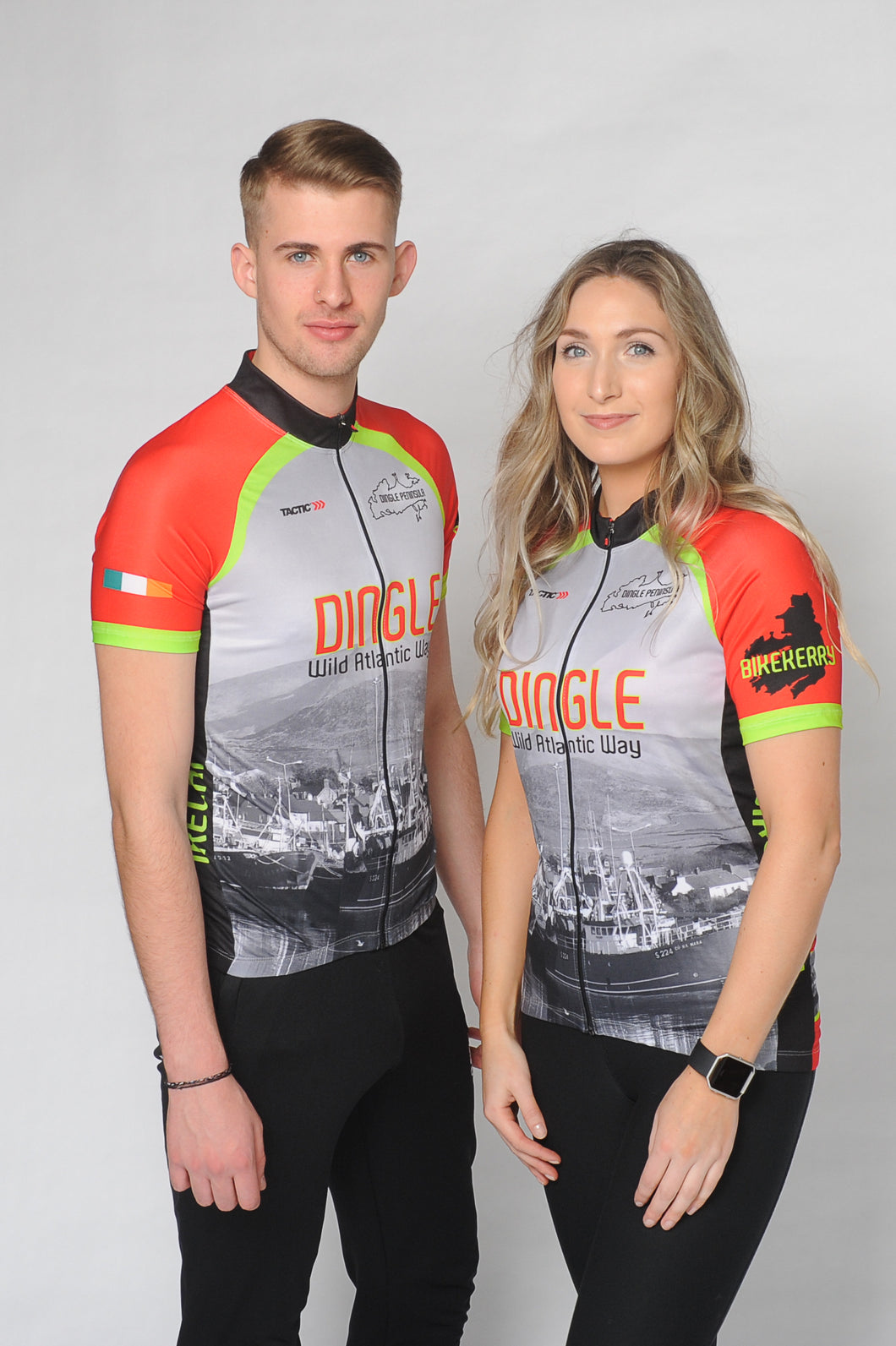 A man and a woman wearing the short sleeve Dingle Bike Kerry Cycling Jersey