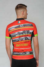 Load image into Gallery viewer, A man wearing the short sleeve Dingle Bike Kerry Cycling Jersey with his back to the camera