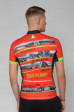 A man wearing the short sleeve Dingle Bike Kerry Cycling Jersey with his back to the camera