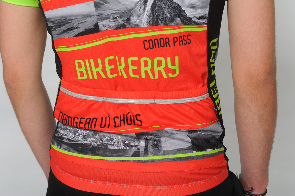 Close up of a man and wearing the short sleeve Dingle Bike Kerry Cycling Jersey