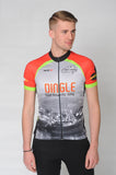 A man wears the short sleeve Dingle Bike Kerry Cycling Jersey