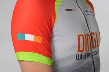 Load image into Gallery viewer, A man wears the short sleeve Dingle Bike Kerry Cycling Jersey with a close up on the Irish flag