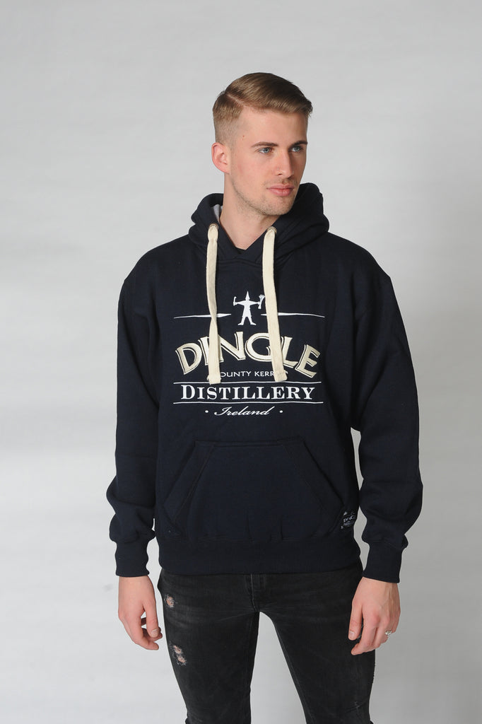 A man wears a Dingle Distillery hoodie. Comfortable and casual leisure wear for men or ladies