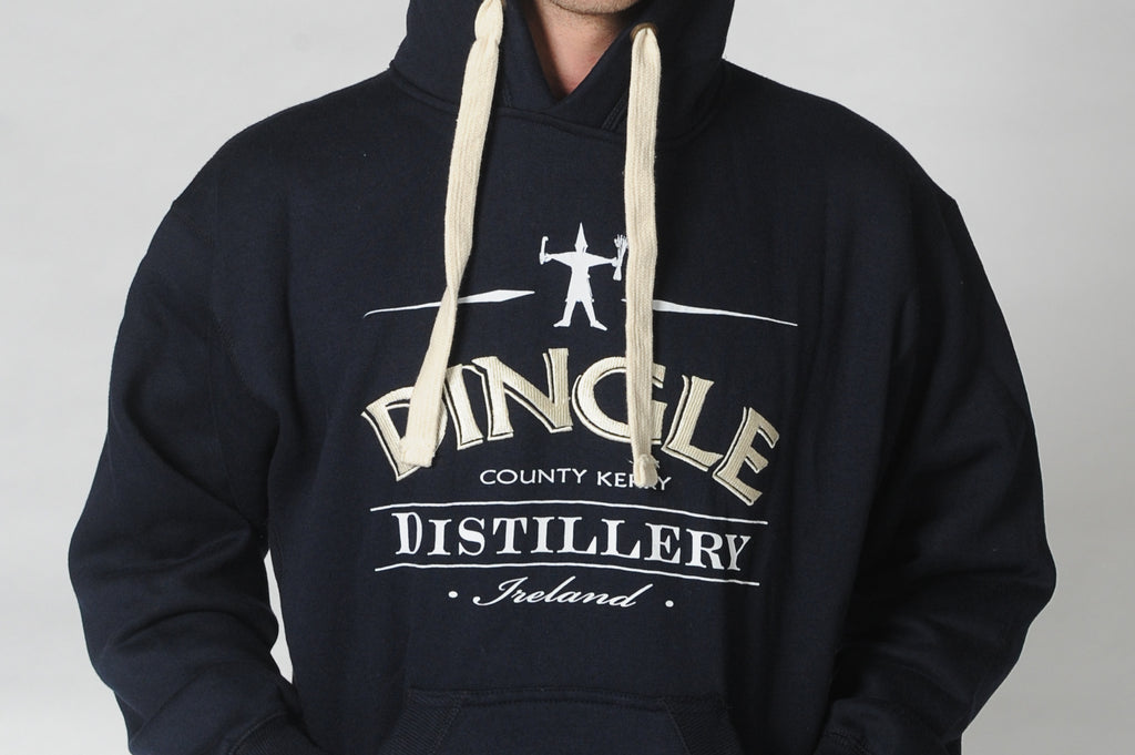 A man wears a Dingle Distillery hoodie with the logo across the front of the hoodie. Comfortable and casual leisure wear for men or ladies