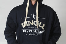 Load image into Gallery viewer, A man wears a Dingle Distillery hoodie with the logo across the front of the hoodie. Comfortable and casual leisure wear for men or ladies