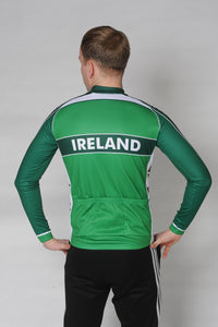 Back view of the Team Ireland Long Sleeved cycling jersey which is green with white panels and sports the Spin 11 and Cycling Ireland logos