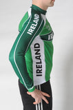 Side view of the Team Ireland Long Sleeved cycling jersey which is green with white panels and sports the Spin 11 and Cycling Ireland logos