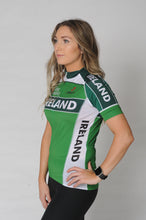 Load image into Gallery viewer, Side view of the Team Ireland Short Sleeved cycling jersey which is green with white panels and sports the Spin 11 and Cycling Ireland logos