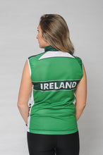 Load image into Gallery viewer, Back view of the Team Ireland Short Sleeved cycling jersey which is green with white panels and sports the Spin 11 and Cycling Ireland logos