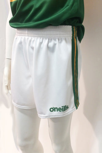 Official Kerry GAA white shorts with green and gold lines down the sides and the O'Neills logo embroidered on the left leg