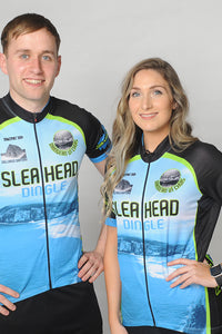 A man and a woman wearing the short sleeve Slea Head Bike Kerry Short Sleeve Cycling Jersey