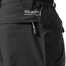 Load image into Gallery viewer, Detail of Aquadry printing on black waterproof sportswear trousers