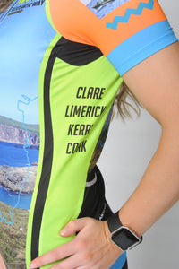 Close up of the left side of the short sleeve Wild Atlantic Bike Kerry Short Sleeve Cycling Jersey with the text Clare, Limerick, Kerry and Cork