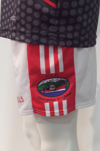 Side view of the official Dingle GAA club shorts in white with red stripes