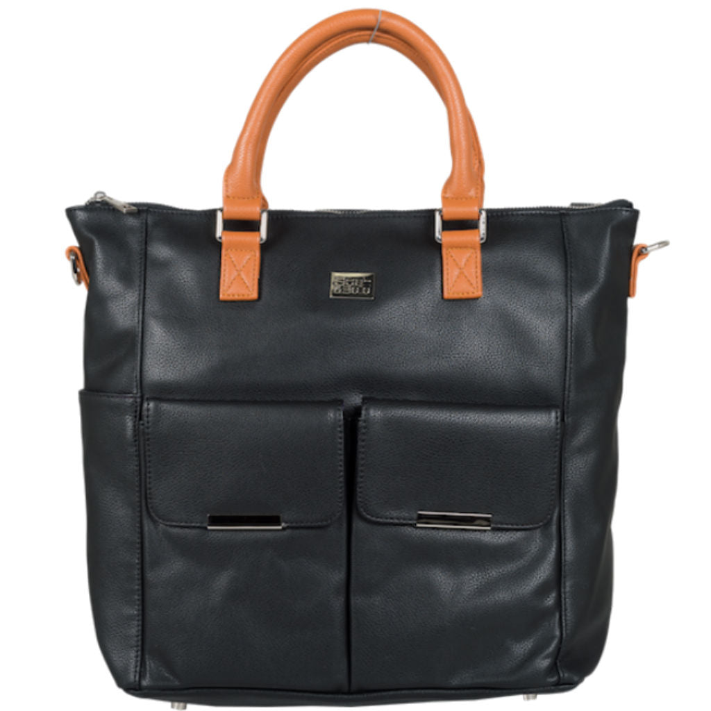 Emma Nappy Bag/Backpack - Black (tan handles)