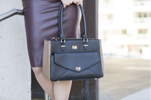 Imani Work Handbag - Black & Coffee