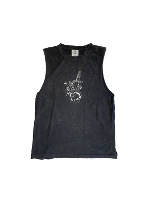 """HEART BREAKER"" Tank (Black/Stone wash)"