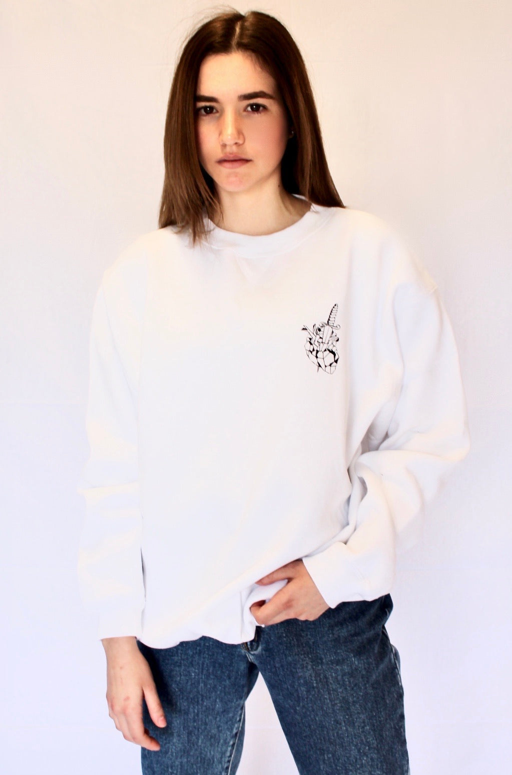 Heart breaker Crew Neck jumper - White
