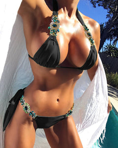 Sexy Green Diamond Banded Ladies Bathing Suit