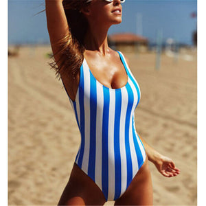 2019 One Piece Striped Push Up Swimsuit
