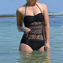 Load image into Gallery viewer, Hollow Out Lace One Piece Halter Bathing Suit