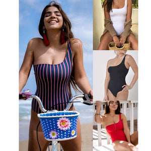 2019 One Piece Striped Swimsuit