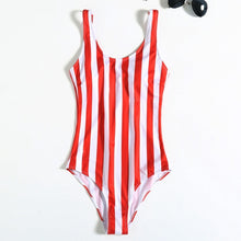 Load image into Gallery viewer, 2019 One Piece Striped Push Up Swimsuit