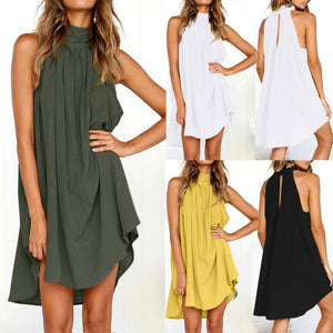 Ladies Summer Beach Sleeveless Bohemian Dress