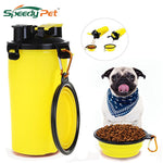 2 in 1 Pet Food and Water Bottle with Dual Chambered Storage Container with Cup