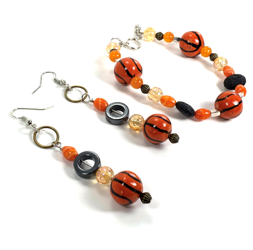 """To the hoops"" Oil infused bracelet and earrings"