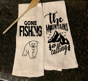 Set of TWO - FLOUR SACK TOWELS  Gone fishing.