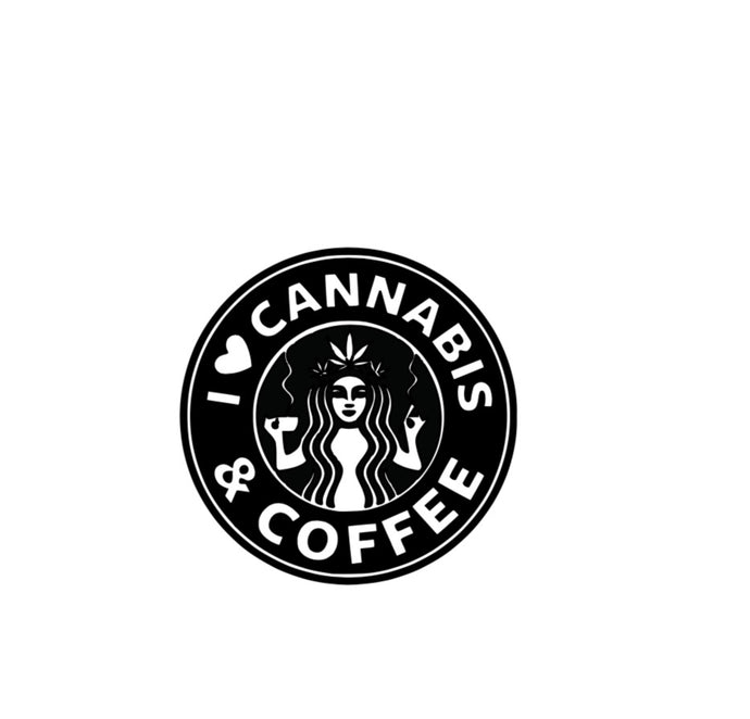 Cannabis and coffee decal