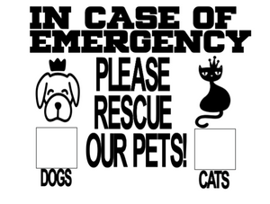 In Case of Emergency - Save pets dog/cats