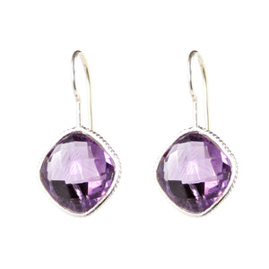 Amethyst and Silver Frame Earrings - Signature Collection