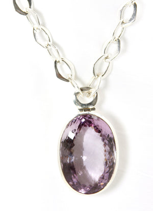 Amethyst Oval Pendant & Silver Chain - Bold Collection