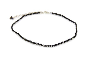 KenSuiJewelry Anklet with Sterling Silver adjust chain lock and Black Spinal Round Beads